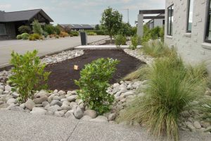 gabion stones and lawn mix